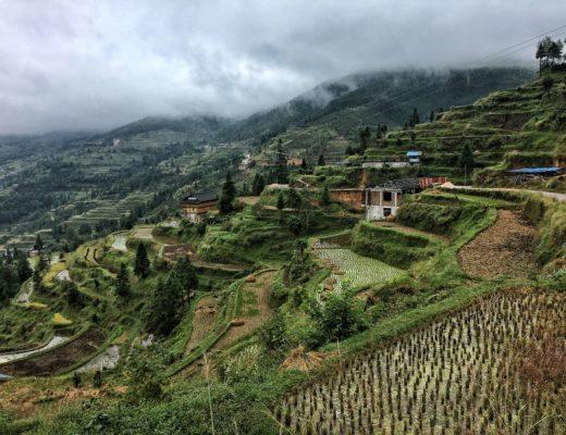 Les rizières en terrasse autour de Zhaoxing dans la province du Guizhou