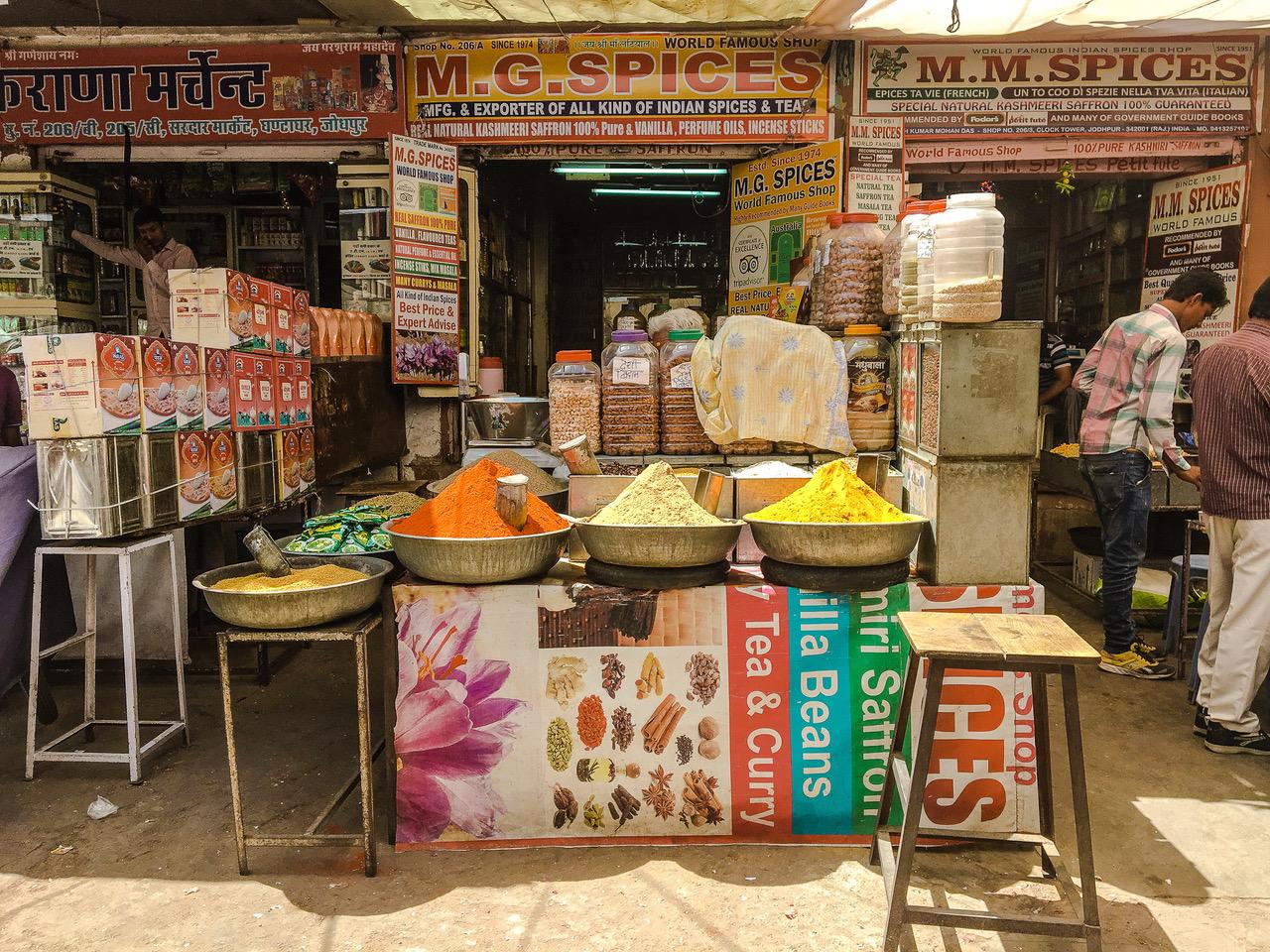 Épices indiennes au marché de Jodhpur