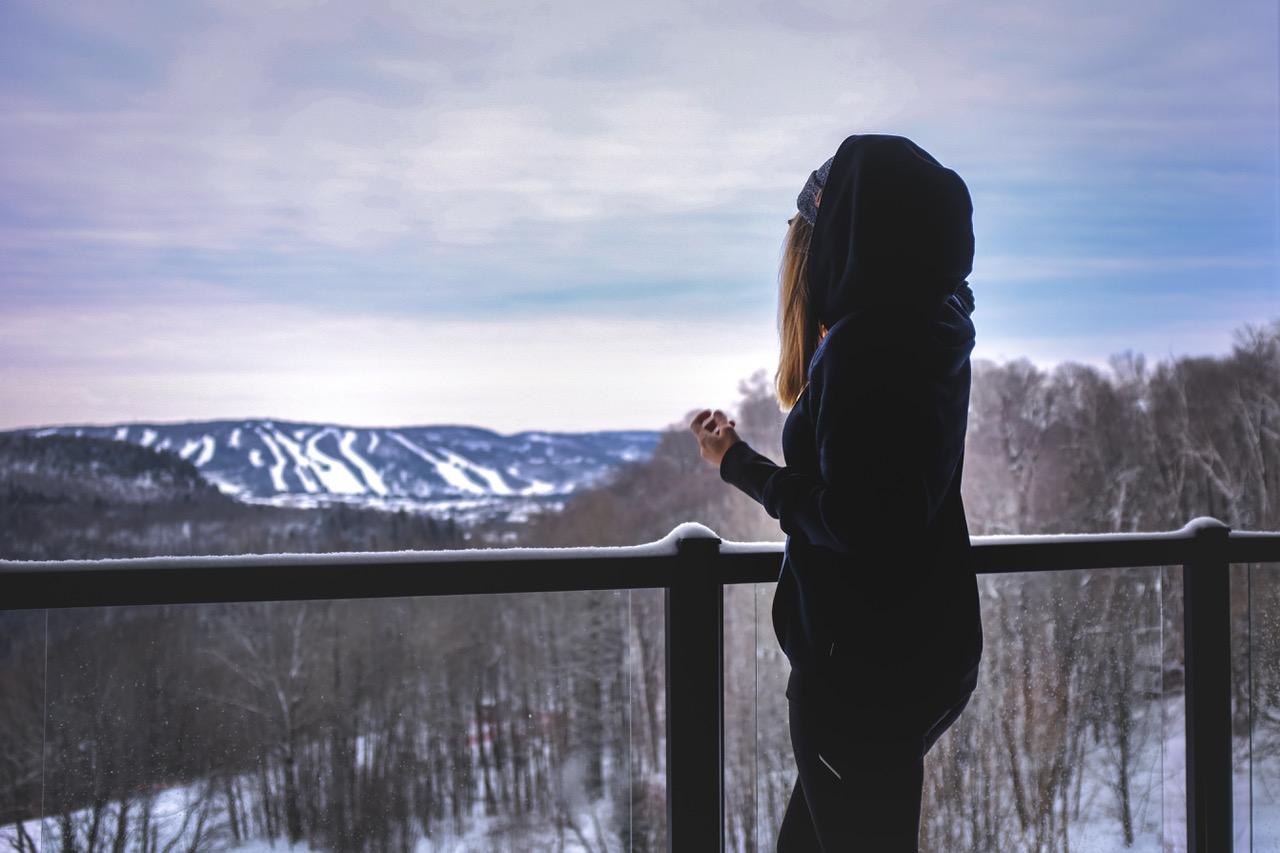 La vue de ma chambre dans les Laurentides en hiver